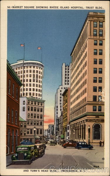 Market Square Showing Rhode Island Hospital, Trust Bldg., and Turk's Head Bldg Providence