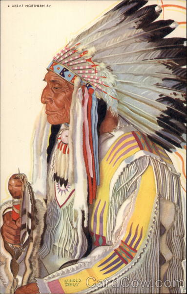 Wades-in-the-Water, Blackfeet Indian Chieftain Native Americana