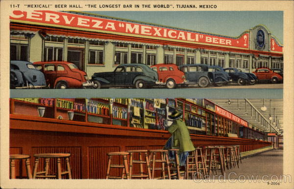 Mexicali Beer Hall, The Longest Bar in the World Tijuana Mexico