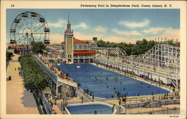 Swimming Pool in Steeplechase Park Coney Island New York