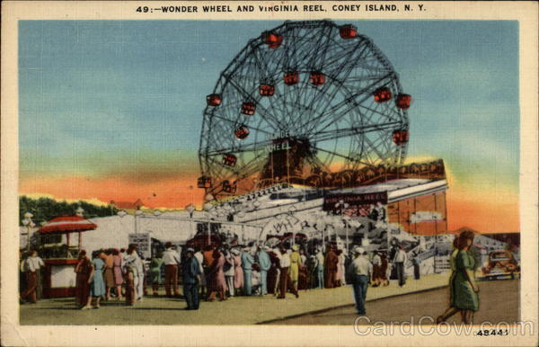 Wonder Wheel and Virginia Reel Coney Island New York