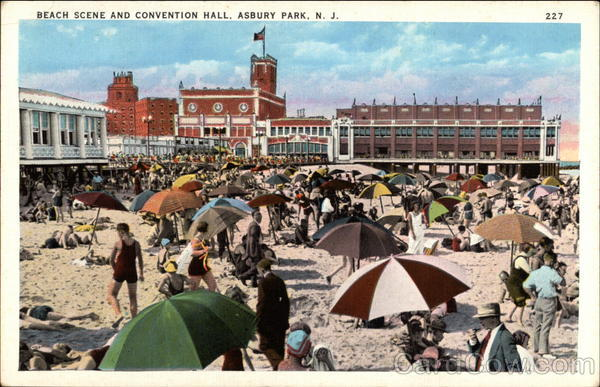 Beach Scene and Convention Hall Asbury Park New Jersey