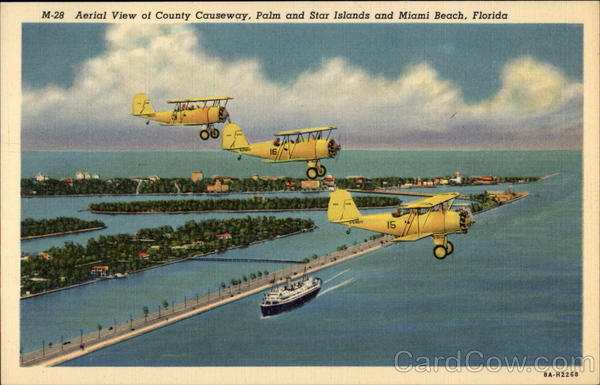 Aerial View of County Causeway, Palm and Star Islands Miami Beach Florida