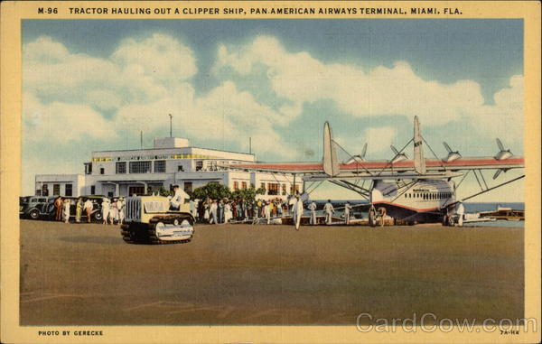 M-96 Tractor Hauling out a Clipper Ship, Pan-American Airways Terminal Miami Florida