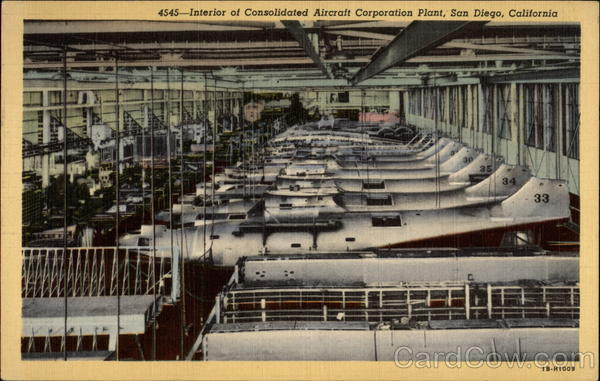 Interior of Consolidated Aircraft Corporation Plant (4545) San Diego California