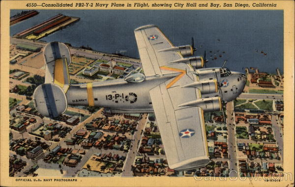 Consolidated PB2-Y-2 Navy Plane in Flight San Diego California