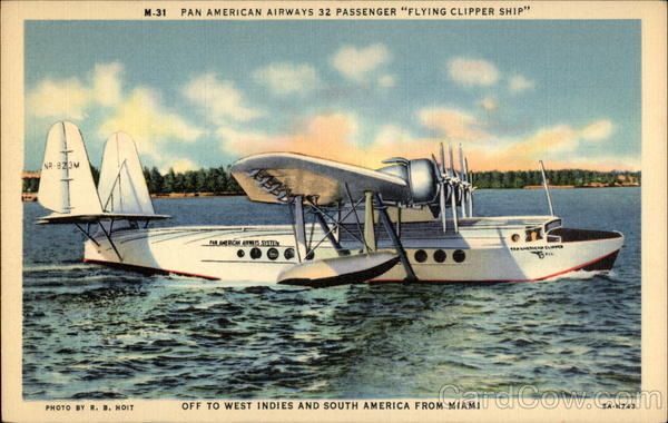 Pan American Airways 32-Passenger Flying Clipper Ship Miami Florida
