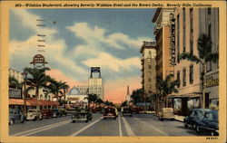 Wilshire Boulevard, showing Beverly-Wilshire Hotel and the Brown Derby