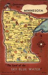 "Greetings from Minnesota, ""The Land of the Sky Blue Watter"" Postcard"