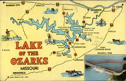 Lake of the Ozarks Map Postcard