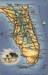 A view of the major highways in Florida Postcard