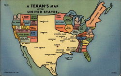 A Texan's Map of the United States Postcard