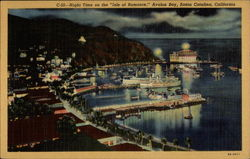 "Night Time on the ""Isle of Romance,"" Avalon Bay Postcard"