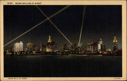 Skyline at night Postcard