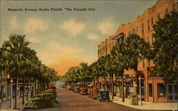 "Magnolia Avenue, Eustis, ""The Friendly City"" Postcard"