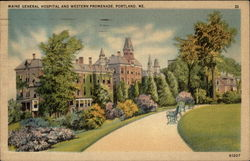Maine General Hospital and Western Promenade Postcard