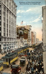 Broadway at Sixth Street showing Story Building Postcard