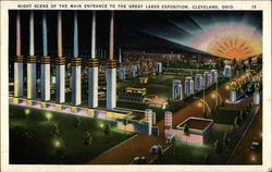 Night Scene of the Main Entrance to the Great Lakes Exposition