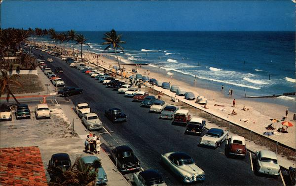 Beach and Cabanas, looking north along Ocean Boulevard Palm Beach Florida