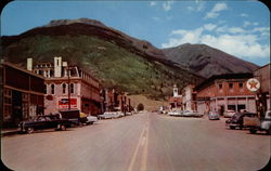 Business district, Silverton, Colorado Postcard