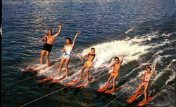 A water-skiing family