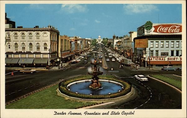 Dexter Avenue, Looking East, Showing Fountain and State Capitol Montgomery Alabama
