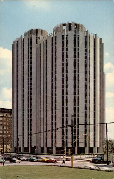 Distinctive dormitory towers at the University of Pittsburgh Pennsylvania United States