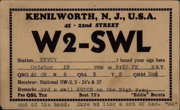 Kenilworth, NJ, USA 45 22nd Street New Jersey QSL & Ham Radio