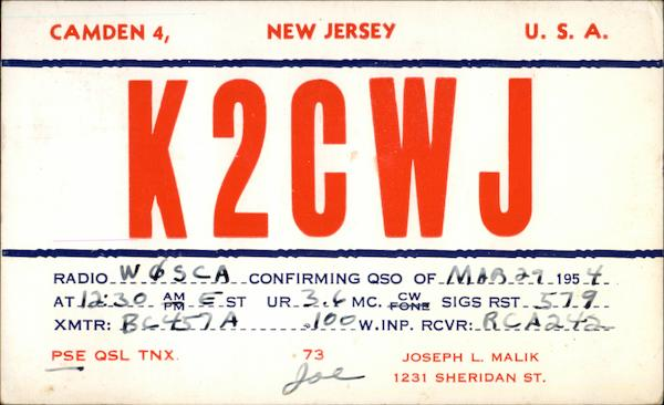 K2CWJ Amateur Radio Confirming QSO Camden New Jersey