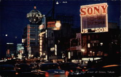 The neon-sign on the main street of Ginza Postcard