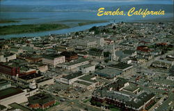An aerial of Eureka and Humboldt Bay