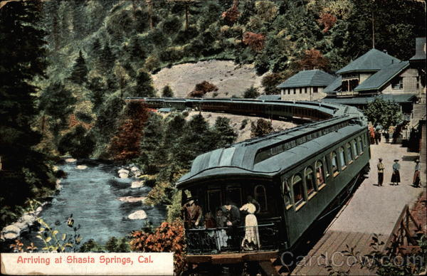 Arriving at Shasta Springs, Cal California Railroad (Scenic)