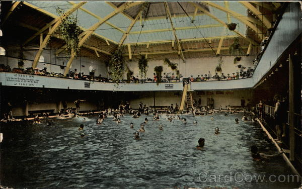 Indoor Swimming Pool With Bathers Long Beach California