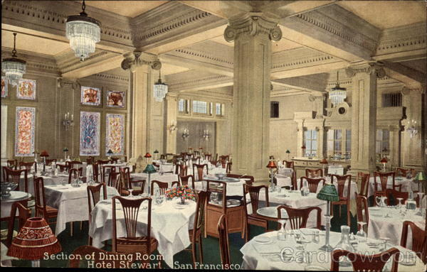 Section of Dining Room, Hotel Stewart San Francisco California