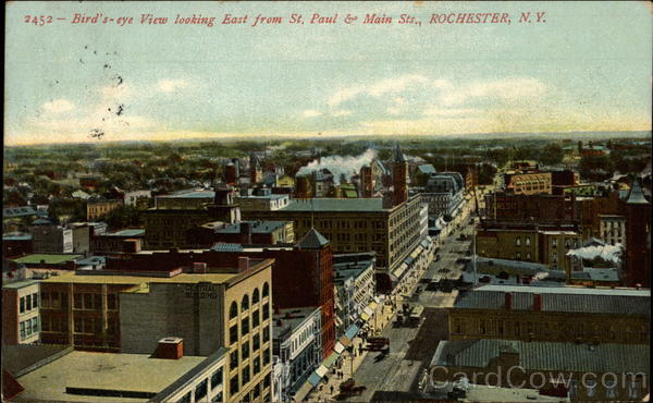 Bird's-eye View Looking East From St. Paul & Main Sts Rochester New York