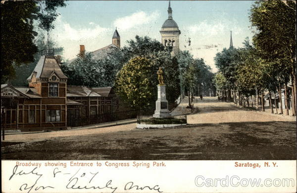 Broadway Showing Entrance to Congress Spring Park Saratoga New York