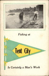 Fishing at Tent City Postcard