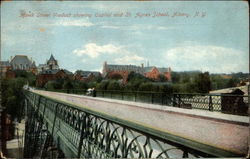Hawk Street Viaduct showing Capitol and St. Agnes School Postcard
