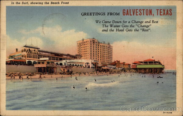 In the Surf, showing the Beach Front Galveston Texas