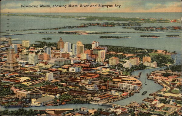 Downtown Miami, showing Miami River and Biscayne Bay Florida