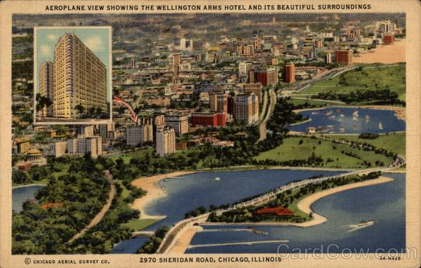Aeroplane View Showing the Wellington Arms Hotel and Its Beautiful Surroundings Chicago Illinois
