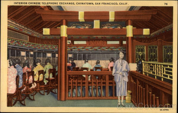 Interior Chinese Telephone Exchange in Chinatown San Francisco California