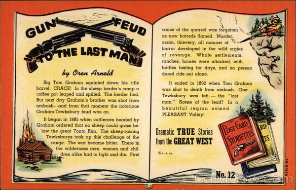 Gun Feud to the Last Man by Oren Arnold Cowboy Western