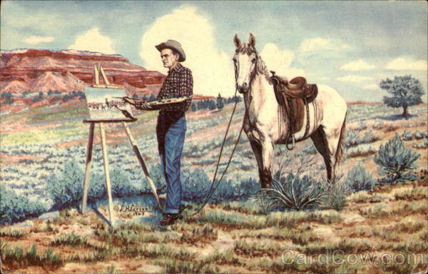 Painting by L.H. Dude Larsen Cowboy Western Artists