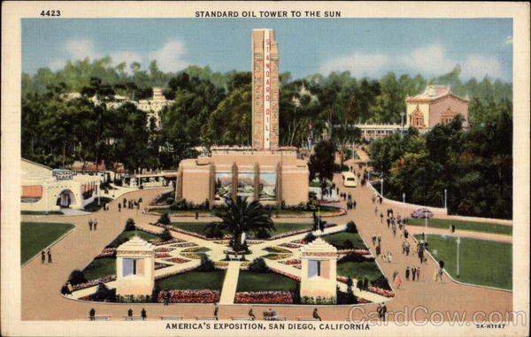 Standard Oil Tower to the Sun Plaza De America - America's Exposition San Diego California