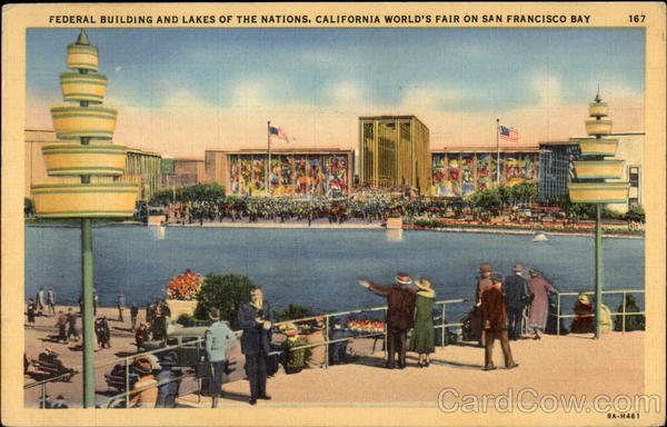 Federal Building and Lakes of the Nations, California world's fair on San Francisco Bay