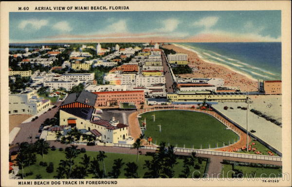 Aerial View of Miami Beach, Florida (Miami Beach Dog Track in Foreground)
