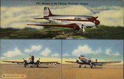 Scenes at Chicago Municipal Airport Postcard
