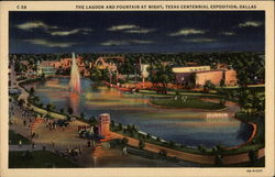 The Lagoon and Fountain at Night, Texas Centennial Exposition