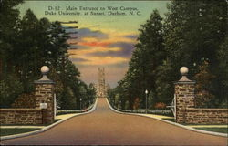 Main Entrance to West Campus, Duke University, at Sunset Postcard